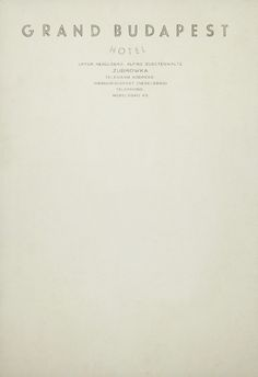 Letterhead of the Grand Budapest Hotel. Stationery used in the Wes Anderson film, The Grand Budapest Hotel.