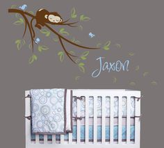 Monkey Sleeping on Branch Vinyl Wall Decal with Birds and Custom Name, Monkey Decal for Nursery, Kids, Childrens Room. $34.00, via Etsy.