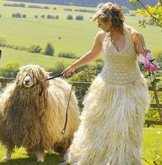 Lincoln Wool Wedding Gown ,made by the bride with wool from her sheep, just beautiful. Funny Wedding Dresses, Weird Wedding Dress, Crazy Wedding, Wedding Gowns, Ugliest Wedding Dress, 2017 Wedding, Bridal Gowns, Worst Wedding Photos, Wedding Pictures