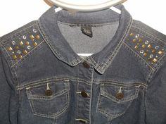 BaccinI Blue Denim Jacket Large L  Bronze Studs Decorative Metal Buttons  #BACCINI #JeanJacket
