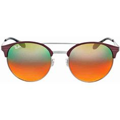 Ray-Ban Round Orange Gradient Sunglasses ($100) ❤ liked on Polyvore featuring jewelry, mirrored jewelry and orange jewelry