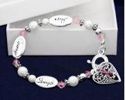 Hope Strength Pink Ribbon Bracelets