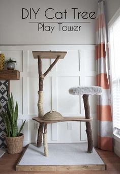 A DIY Cat Tree Play Tower tutorial - how to make your own cat play tower on the cheap. Cat Play Tower, Diy Cat Tower, Homemade Cat Tower, Cat Tree House, Cat House Diy, Cat Tree Condo, Cat Condo, Niche Chat, Cat Tree Plans