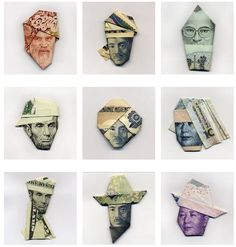 Origami art using currency