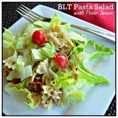 Blt pasta salad with pesto sauce
