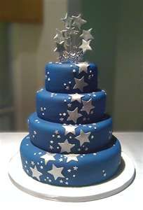 This one would look cute with hearts instead of stars for a wedding. I would do a white cake with multicolored hearts!