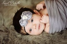 Newborn Baby Girl Headband....Gray Rosette Headband...Newborn Baby Girl Photo Prop..Newborn Girl Photography Prop...gray...black..KENNEDY. $20.00, via Etsy.