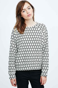 Cooperative Houndstooth Sweatshirt in Mono - Urban Outfitters