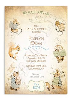 Hey, I found this really awesome Etsy listing at http://www.etsy.com/listing/161092186/beatrix-potter-baby-shower-invitation