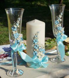 Wedding champagne glassesWedding toasting flutesBlue and Wedding Cups, Wedding Veils, Blue Wedding, Unique Wedding Gifts, Personalized Wedding Gifts, Unique Weddings, Wedding Champagne Flutes, Wedding Glasses, Snowflake Wedding