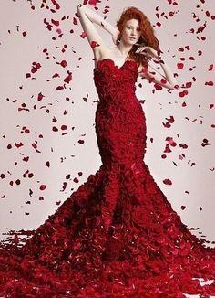 Stunning Wedding Red, Black & White ☆ Absolute Red Weddind Dress