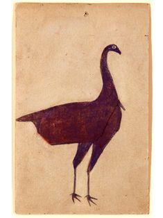 Bill Traylor (1854-1949). Turkey. Watercolour and Pencil on Cardboard. Circa 1939-1942.