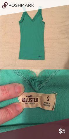 Hollister tank top Cute green Hollister tank top, gently used. Hollister Tops Tank Tops