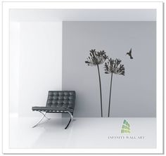 Agapanthus and Hummingbird Wall Art Sticker - PD507  http://www.infinitywallart.com/agapanthus-and-hummingbird-wall-art-sticker-pd507.html