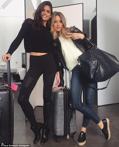 'Get ready to party!' Sara shared an Instagram snap with Martha as the pair headed to Las Vegas to celebrate The Cab lead singer's birthday, Alexander DeLeon