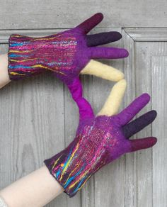 Hand felted wool gloves, winter mittens with fingers, decorated with cotton fabric. These funny and beautiful gloves are made with soft merino wool and