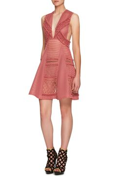 Pink Dress With Lace And Sport Mesh by BURBERRY Now Available on Moda Operandi