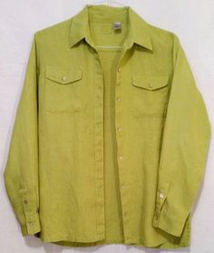 Lino by Chico's Lime Green Linen Button Front Long Sleeve Shirt Top sz 0 #LinobyChicos #ButtonDownShirt #Casual