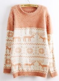 Deer & Snowflakes Print Fluffy Sweater,  Sweater, fluffy sweater  deer print sweater  snowflakes, Chic