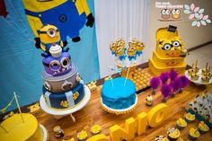 Minion themed birthday party with Lots of Cute Ideas via Kara's Party Ideas! Full of decorating tips, cake, cupcakes, games, favors, printables, and MORE! #minionparty #despicablemeparty #minions #partydecor #partyideas #partyplanning (7)