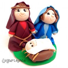Polymer Clay Nativity Figurine Holy Family by KatersAcres on Etsy