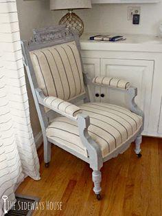 The Sideways House: Barn Chair: Take 2 {MMSMP Grain Sack and ASCP Paris Gray}