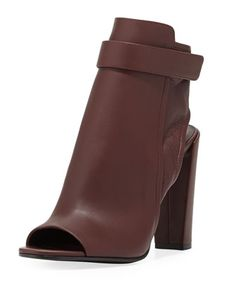 Brigham+Peep-Toe+Bootie,+Oxblood+by+Vince+at+Neiman+Marcus.