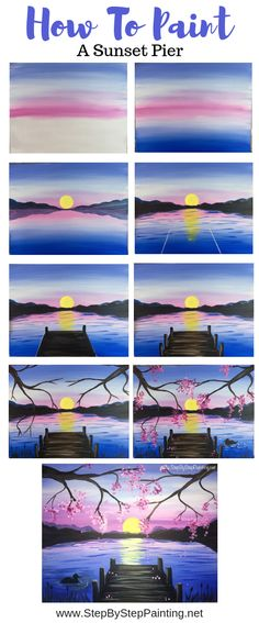 How To Paint A Sunset Lake Pier - Step By Step Painting