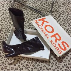 """Kors Michael Kors Brown Boots. All Leather!! Hurry Kors Michael Kors beautiful brown leather boots. Leather sole and lining. Almost toe. Back throughout boots zipper with Kors logo  and cross clasp. Size 9. Fits true to size. Shaft 6"""", heel 4"""". Comes with box. Gently used. Kors Michael Kors  Shoes Heeled Boots"""