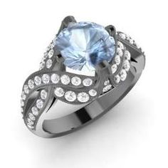 Rings - Ferrah - Aquamarine Ring in 14K Black Gold with SI Diamond