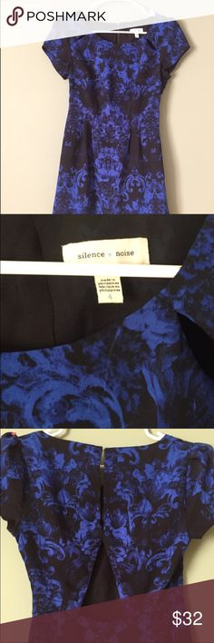 Silence + Noise Party Dress Beautiful cap Sleeve royal blue and black dress. A line. Keyhole cutout in back. Slits in collarbone as well as shown. Can be dressed up or down. Super super cute and classy! silence + noise Dresses Mini