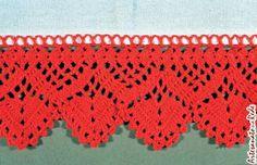 croche bicos   TECENDO SEM CESSAR Crochet Borders, Crochet Squares, Filet Crochet, Irish Crochet, Crochet Lace, Crochet Stitches, Knitting Patterns, Crochet Patterns, Romanian Lace