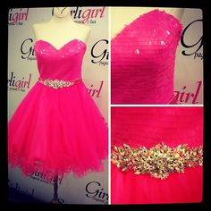Pretty in Hot Pink. Lace Back. Rhinestone Belt. #girligirlgowns #shortdress #homecoming We also have this Royal.