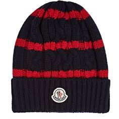 Moncler Men's Striped Cable-Knit Wool-Cashmere Beanie (€115) ❤ liked on Polyvore featuring men's fashion, men's accessories, men's hats, navy, mens wool beanie, mens cable knit hat, mens cable knit beanie, mens cashmere hat and mens beanie hats