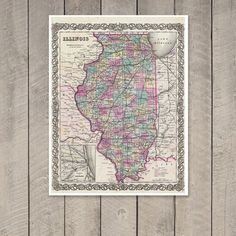 Antique Map of the State of Illinois ca 1855 by PortofPrints