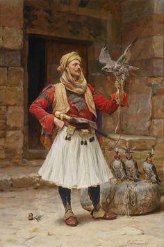 Oil painting male portrait Arab people man with bird hawk hand painted in oil Albanian Culture, Greek Soldier, Jean Leon, Empire Ottoman, Arabian Art, Classic Paintings, Historical Art, Arabian Nights, Islamic Art