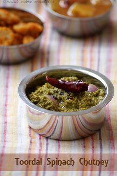 Palakura Kandi Pachadi Recipe ~ Spinach Toor Dal Chutney Recipe - Blend with Spices Indian Food Recipes, Vegetarian Recipes, Cooking Recipes, Healthy Recipes, African Recipes, Curry Recipes, Peanut Chutney, Tomato Chutney, Gourmet