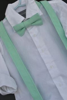 Items similar to Bowtie and Suspenders - Solid Grey Bowtie & Mint Suspender Set for Baby / Toddler / Little Boy / Child - Braces for weddings, easter, photo on Etsy Quince Dresses, 15 Dresses, Bridesmaid Dresses, Mint Quinceanera Dresses, Quinceanera Ideas, Chambelanes, Bowtie And Suspenders, Coordinating Fabrics, Trending Outfits
