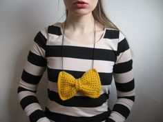chunky crochet bow necklace  yellow  extra large  by lamagique, $17.00