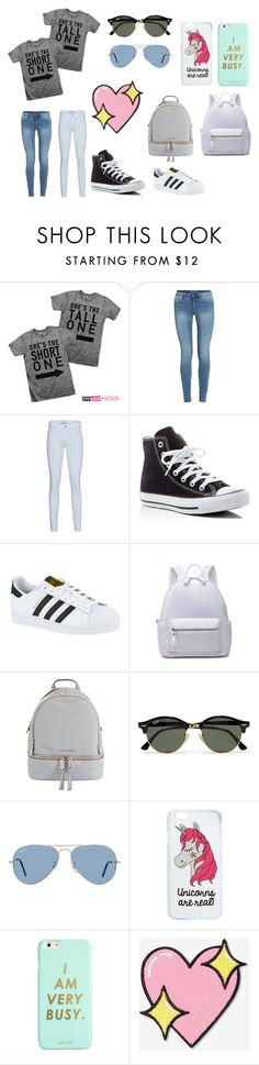 """Besties"" by laviefashion ❤ liked on Polyvore featuring 7 For All Mankind, Converse, adidas, MICHAEL Michael Kors, Ray-Ban, Miss Selfridge, ban.do and Big Bud Press"