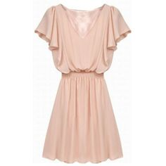 Short Sleeve Solid Color V-Neck Nipped Waist Women's Dress