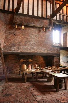 Medieval fireplace. One of the enormous fireplaces in the kitchen of Gainsborough Old Hall