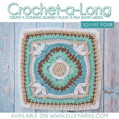 CROCHET-A-LONG SQUARE 4!  Bright and early we thought we'd help your day start off exciting by sending out the next square a little earlier than usual!!! This week we are taking things up a notch with a pattern that is for the beginner - intermediate crocheter. Are you up for the challenge? :) LINK IN TO DOWNLOAD IN BIO  Colours needed for this square (Family Knit DK): Duck Egg 223 Mistletoe 274 White 001 Gravel 075 Antique 049  Show us your squares by using #calwithelleyarns on your posts…