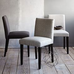 Porter Upholstered Dining Chair in Regal Blue Painted Stripe from #WestElm. Get two of these to accent our four in Sand Stone.