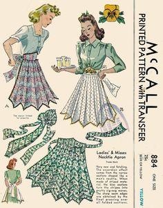 1940s Necktie Apron Pattern McCall 884