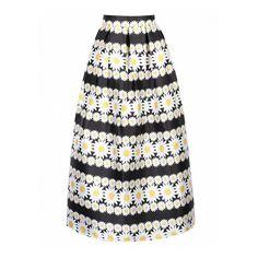 Choies Multicolor High Waist Daisy Print Midi Skirt ($35) via Polyvore featuring skirts