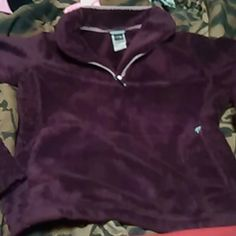 Purple fuzzy north face Purple and sooooo soft...in great condition worn and washed a handful of times...bucket pocket and pull over sleeves...so comfy!! The North Face Tops Sweatshirts & Hoodies