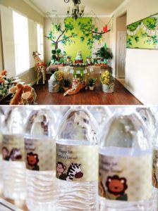 jungle safari dessert table and bottle wraps