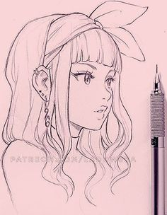 Manga Girl Skizze farbiges Design digitale Zeichnung Bleistift Stift – Sehen Sie… – Keep up with the times. Girly Drawings, Art Drawings Sketches Simple, Pencil Art Drawings, Cartoon Drawings, Pencil Sketches Of Girls, Cartoon Art Styles, Character Drawing, Bleistift Design, Manga Girl Drawing