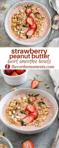 Strawberry Peanut Butter Swirl Smoothie Bowls are creamy vegan smoothie bowls with a decadent peanut butter swirl V GF Paleo option via FlavortheMoment strawberry peanutbutter swirl smoothie smoothiebowl veganfood veganrecipes glutenfree dairyfree Smoothie Bowl Vegan, Smoothies Vegan, Smoothies Detox, Vegan Breakfast Smoothie, Healthy Peanut Butter Smoothie, Peanut Butter Shake, Simple Smoothies, Healthy Bowl, Smothie Bowl